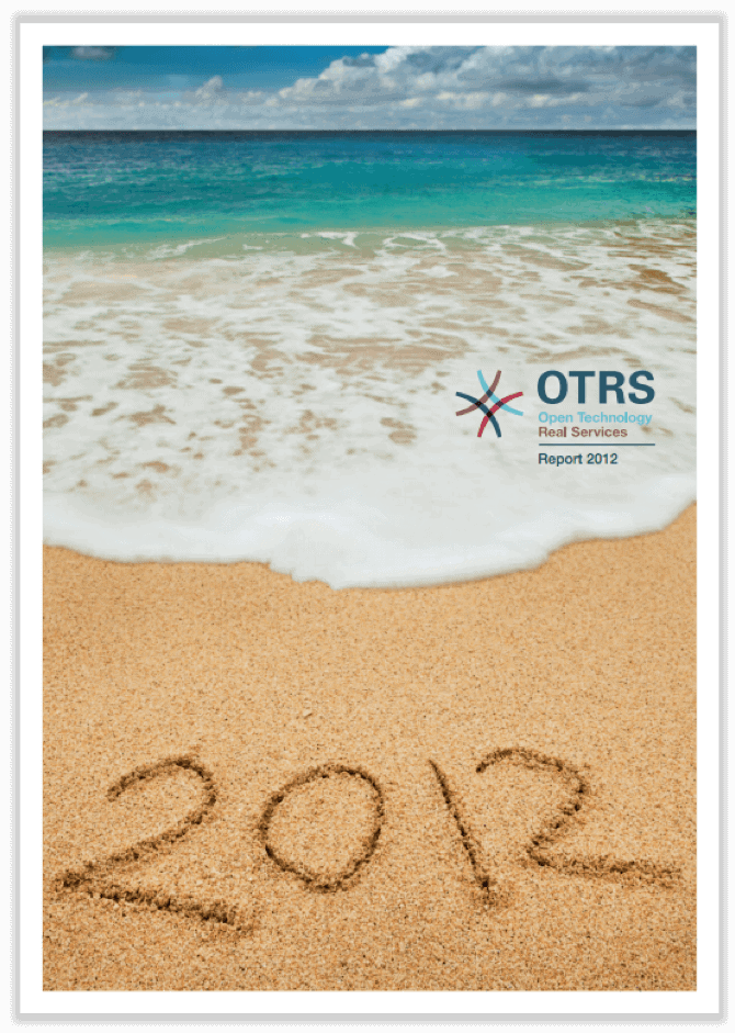 German cover of annual report 2012 showing a beach with the year 2012 written in sand.