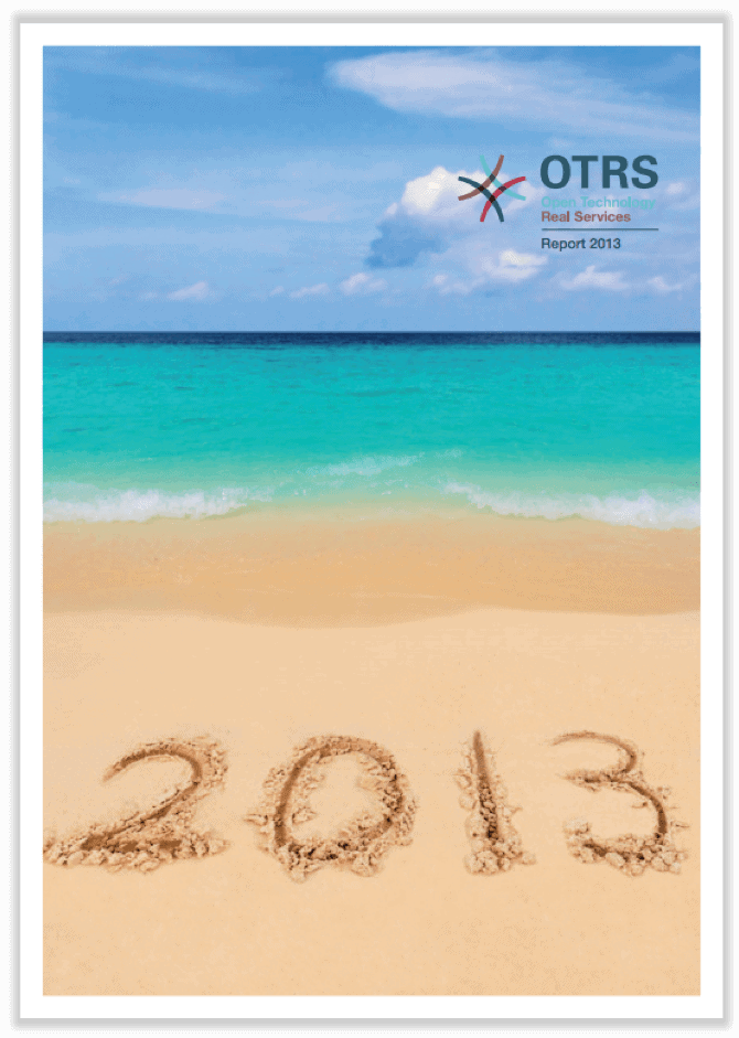 German cover of annual report 2013 showing a beach with the year 2013 written in sand.