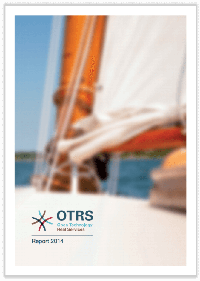 German cover of annual report 2014 showing the lower part of a sailing mast.