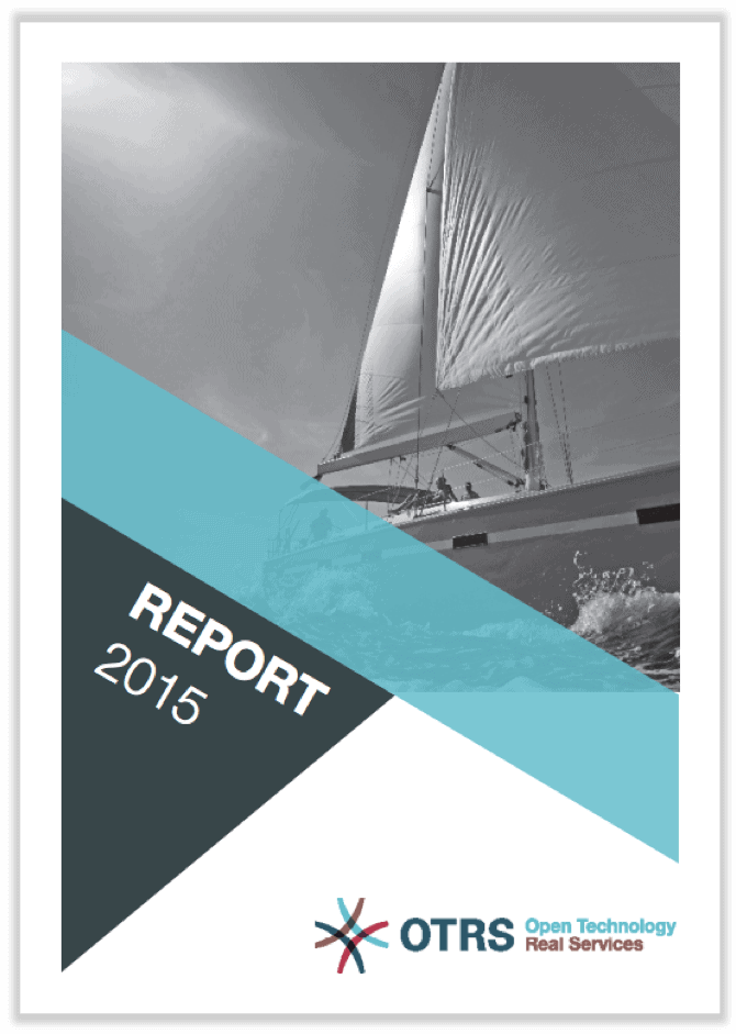German cover of annual report 2015 showing a sailing boat in black and white.