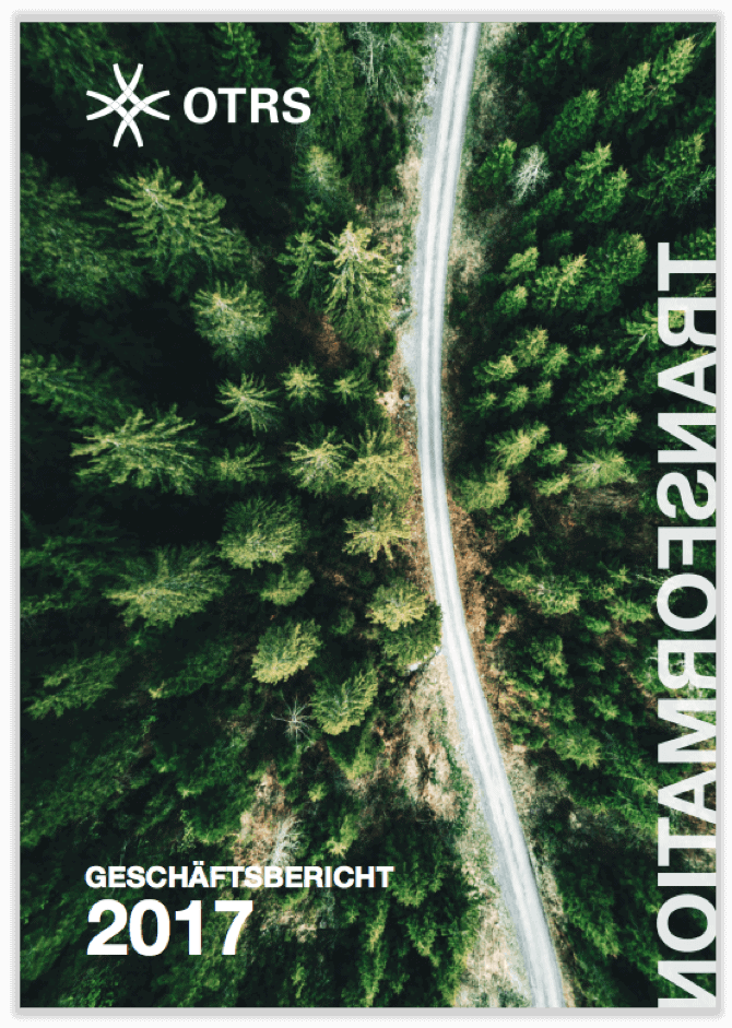 German cover of half-year report 2016 showing outlined design mark of OTRS on a light blue background. German cover of annual report 2017 showing street surrounded by forest from bird's eye view.