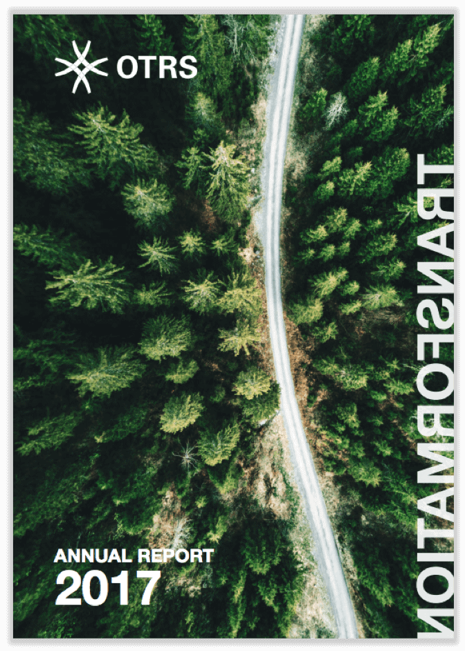 English cover of annual report 2017 showing street surrounded by forest from bird's eye view.