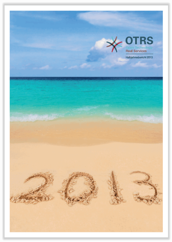 German cover of half-year report 2013 showing a beach with the year 2013 written in sand.