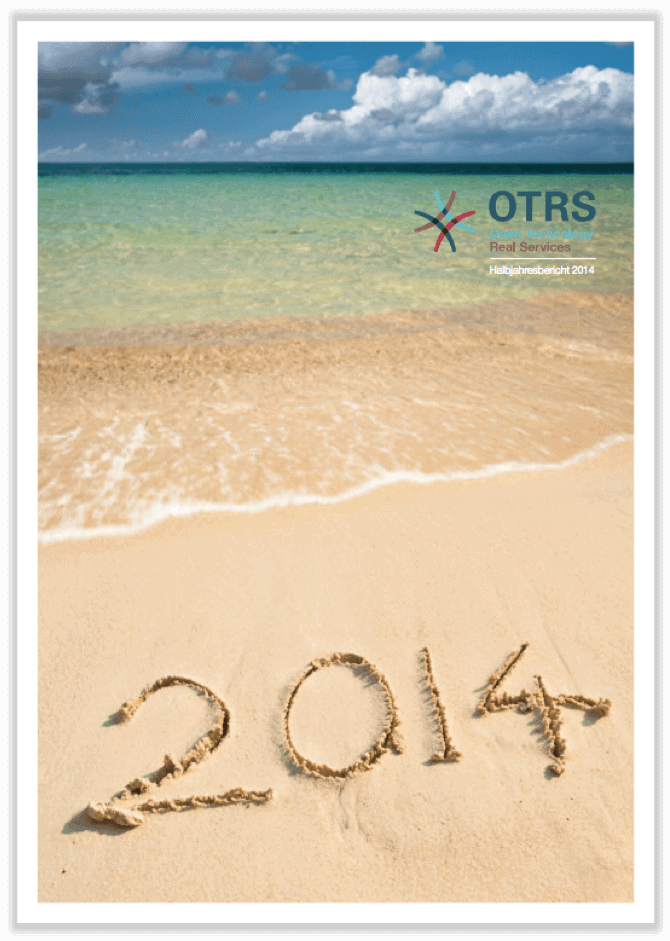 German cover of half-year report 2014 showing a beach with the year 2014 written in sand.