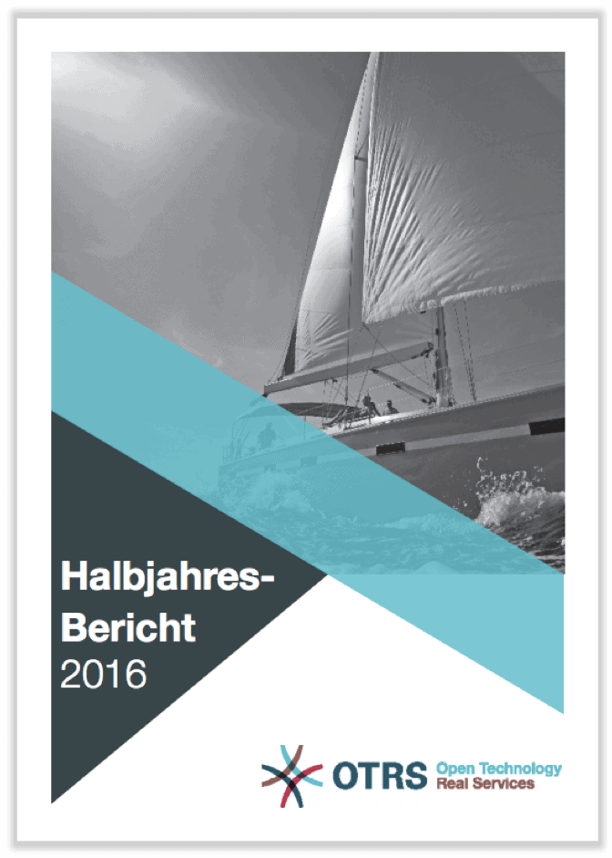German cover of half-year report 2016 showing a sailing boat in black and white.