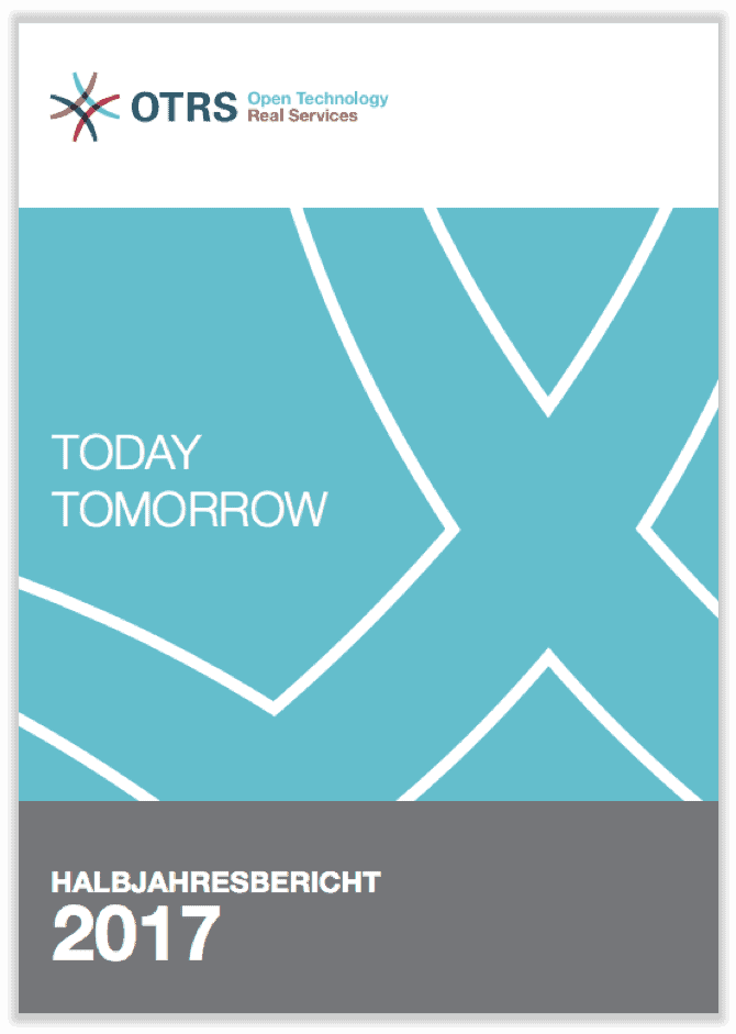 German cover of half-year report 2017 showing outlined design mark of OTRS on a light blue background.