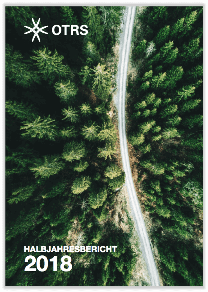 German cover of half-year report 2018 showing street surrounded by forest from bird's eye view.